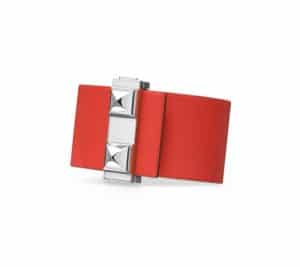 Hermes White/Capucine Red Imprevisible Bracelet Palladium Hardware 2