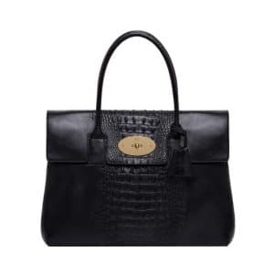 Mulberry Black Croc Printed Bayswater Bag