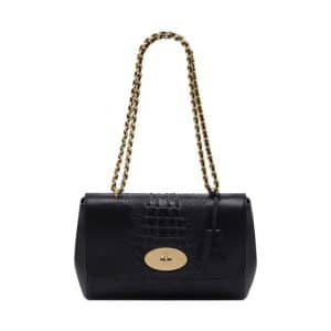 Mulberry Black Croc Stripe Lily Medium Bag
