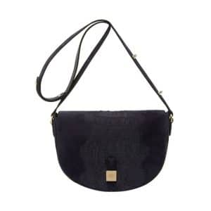 Mulberry Midnight Blue Croc Stripe Suede Tessie Satchel Bag