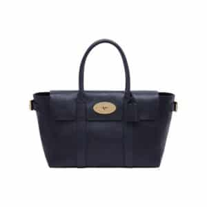 Mulberry Midnight Blue Natural Leather Bayswater Buckle Bag
