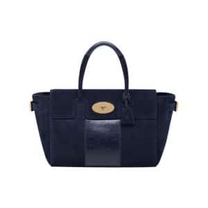 Mulberry Midnight Blue Suede with Calf Stripe Bayswater Buckle Bag