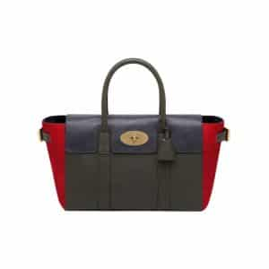 Mulberry Midnight Blue/Evergreen Polished Buffalo with Poppy Red Haircalf Bayswater Buckle Bag