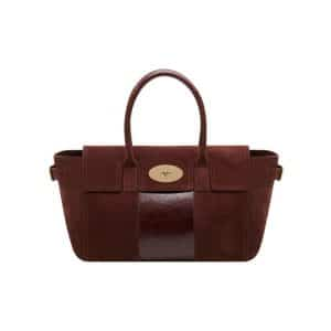 Mulberry Oxblood Suede with Calf Stripe Bayswater Buckle Bag