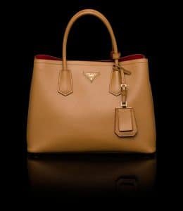 Prada Caramel Double Tote Bag Small