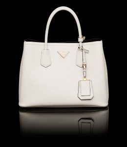 Prada Chalk White Double Tote Small Bag