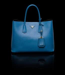 Prada Cobalt Blue Double Tote Medium Bag
