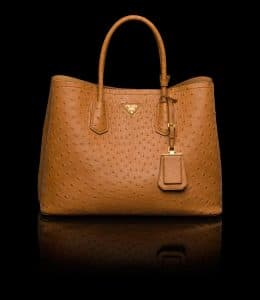 Prada Cognac Ostrich Double Tote Medium Bag
