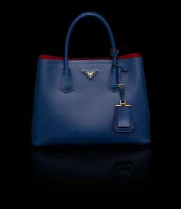 Prada Cornflower Blue Double Tote Small Bag