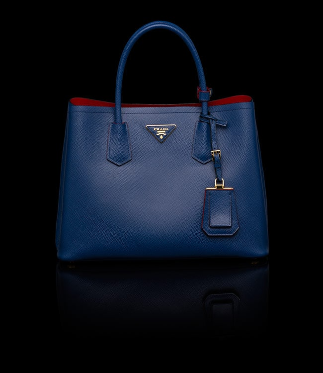Prada Cornflower Blue Double Tote Small Bag 4bfa8a4ef3d57