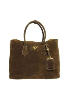 Prada Dark Brown Suede Double Bag
