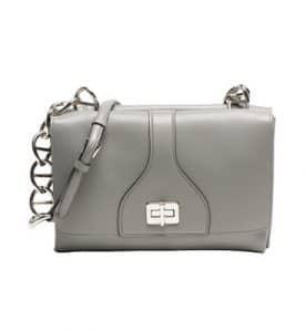 Prada Gray Vitello Soft Shoulder Chain Bag