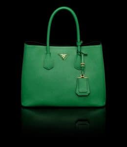 Prada Green Double Tote Medium Bag