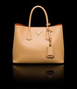 Prada Hazelnut Double Tote Medium Bag