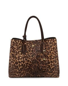 Prada Leopard Print Calf Hair Cavallino Double Bag
