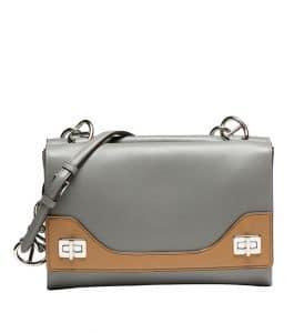Prada Nude/Gray Vitello Soft Bicolor Chain Shoulder Bag