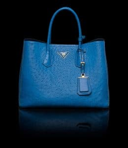 Prada Ocean Blue Ostrich Double Tote Medium Bag