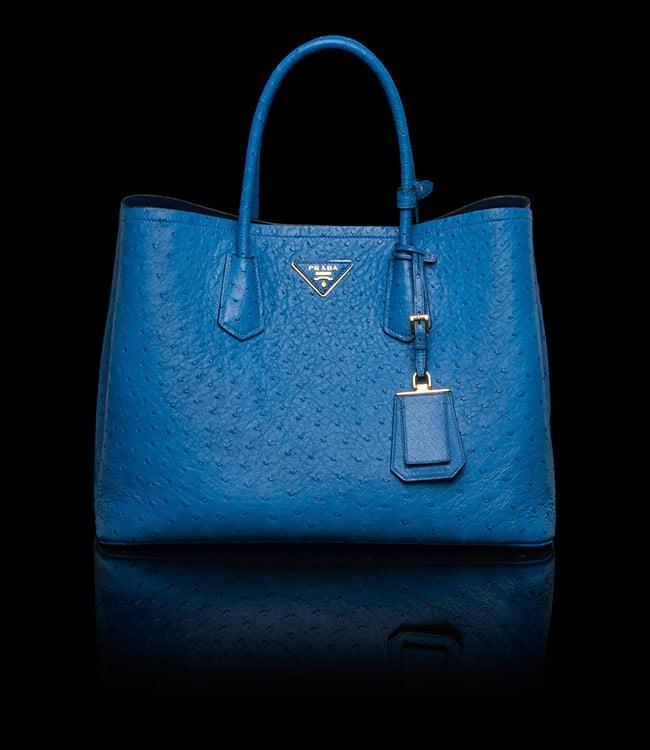 Prada Ocean Blue Ostrich Double Tote Medium Bag 07d0a9e289618