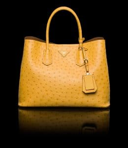 Prada Ochre Ostrich Double Tote Medium Bag