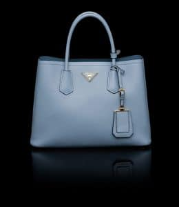 Prada Pale Blue Double Tote Small Bag