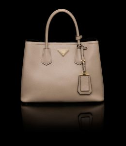 Prada Pale Grey Double Tote Small Bag