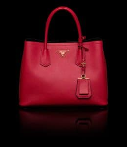 Prada Red Double Tote Small Bag