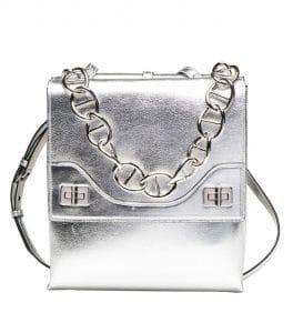 Prada Silver Vitello Soft Chain Shoulder Bag