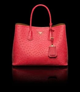 Prada Strawberry Ostrich Double Tote Medium Bag