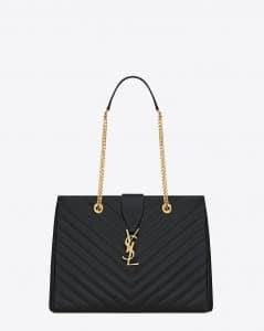 Saint Laurent Black Classic Monogram Matelasse Shopping Bag