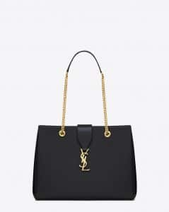 Saint Laurent Black Classic Monogram Shopping Bag