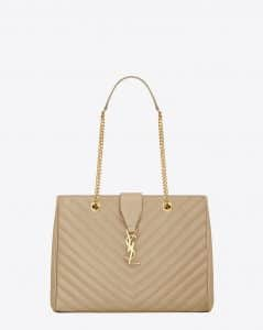 Saint Laurent Dark Beige Classic Monogram Matelasse Shopping Bag