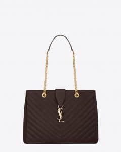 Saint Laurent Dark Magenta Classic Monogram Matelasse Shopping Bag