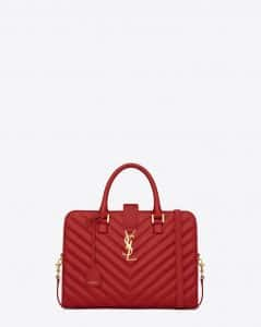 Saint Laurent Lipstick Red Monogramme Cabas Matelasse Small Bag