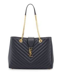 Saint Laurent Navy Blue Classic Monogram Matelasse Shopping Bag
