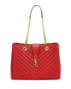 Saint Laurent Red Classic Monogram Matelasse Shopping Bag