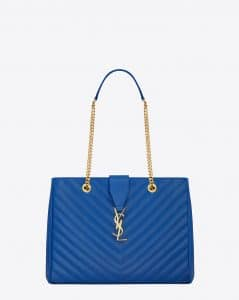 Saint Laurent Royal Blue Classic Monogram Matelasse Shopping Bag