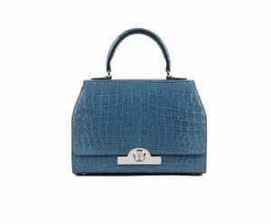 Moynat Blue Rejane Crocodile Tote Bag