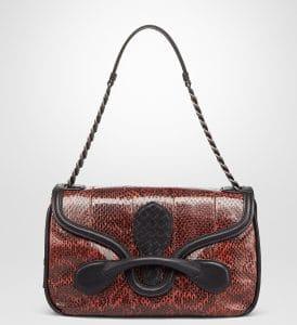 Bottega Veneta Red Elaphe Snakeskin Rialto Bag