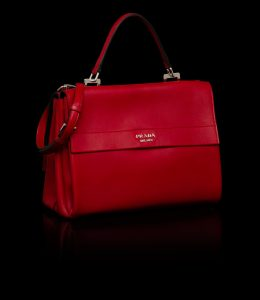 Prada Red Vitello Lux Double Flap Tote Bag