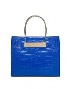 Balenciaga Blue Crocodile Cable Strap Shopper Small Bag