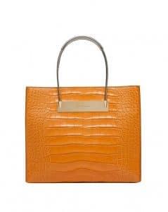 Balenciaga Orange Crocodile Cable Strap Shopper Small Bag
