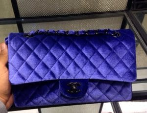 Chanel Blue Velvet Classic Flap Bag - Fall 2014