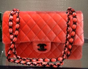 Chanel Coral Velvet Classic Flap Bag - Fall 2014