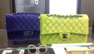 Chanel Neon Green Velvet Timeless Classic Bag - Fall 2014 Act 2