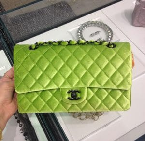 Chanel Neon Green Velvet Timeless Classic Bag - Fall 2014