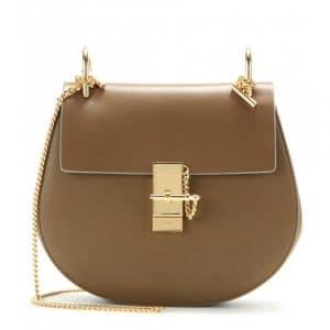 Chloe Barbour Khaki Textured/Smooth Leather Drew Medium Shoulder Bag
