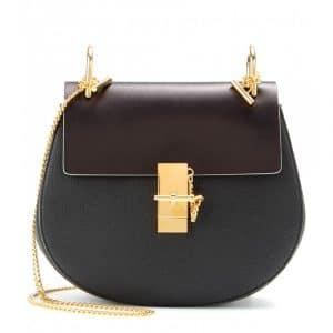 Chloe Black/Brown Textured/Smooth Leather Drew Medium Shoulder Bag