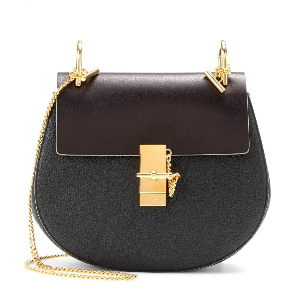 Chloe Black Brown Textured Smooth Leather Drew Medium Shoulder Bag