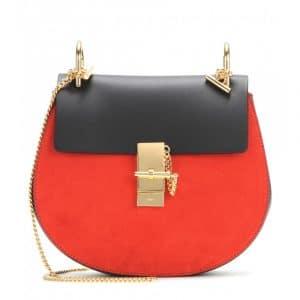 Chloe Black/Red Suede/Calfskin Drew Medium Shoulder Bag
