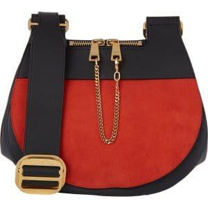 Chloe Black/Red Suede/Calfskin Drew Saddle Bag